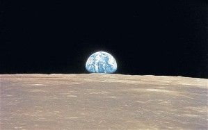 View of Earth during a moon walk